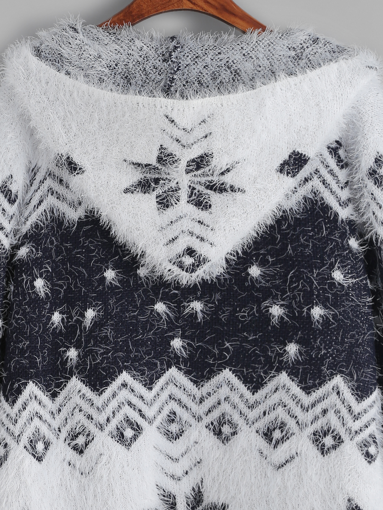 ef778d1a8177 ... Color Block Snowflake Pattern Fuzzy Hooded Sweater Coat Cardigan -  Thumbnail 2 ...