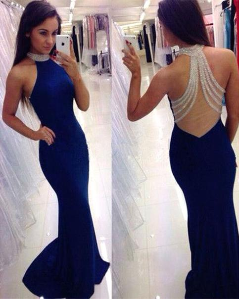 75d24737cd Navy Blue Mermaid Sexy Prom Dresses Halter with Beads Spandex Illusion Back  Formal Evening Party Gowns on Storenvy