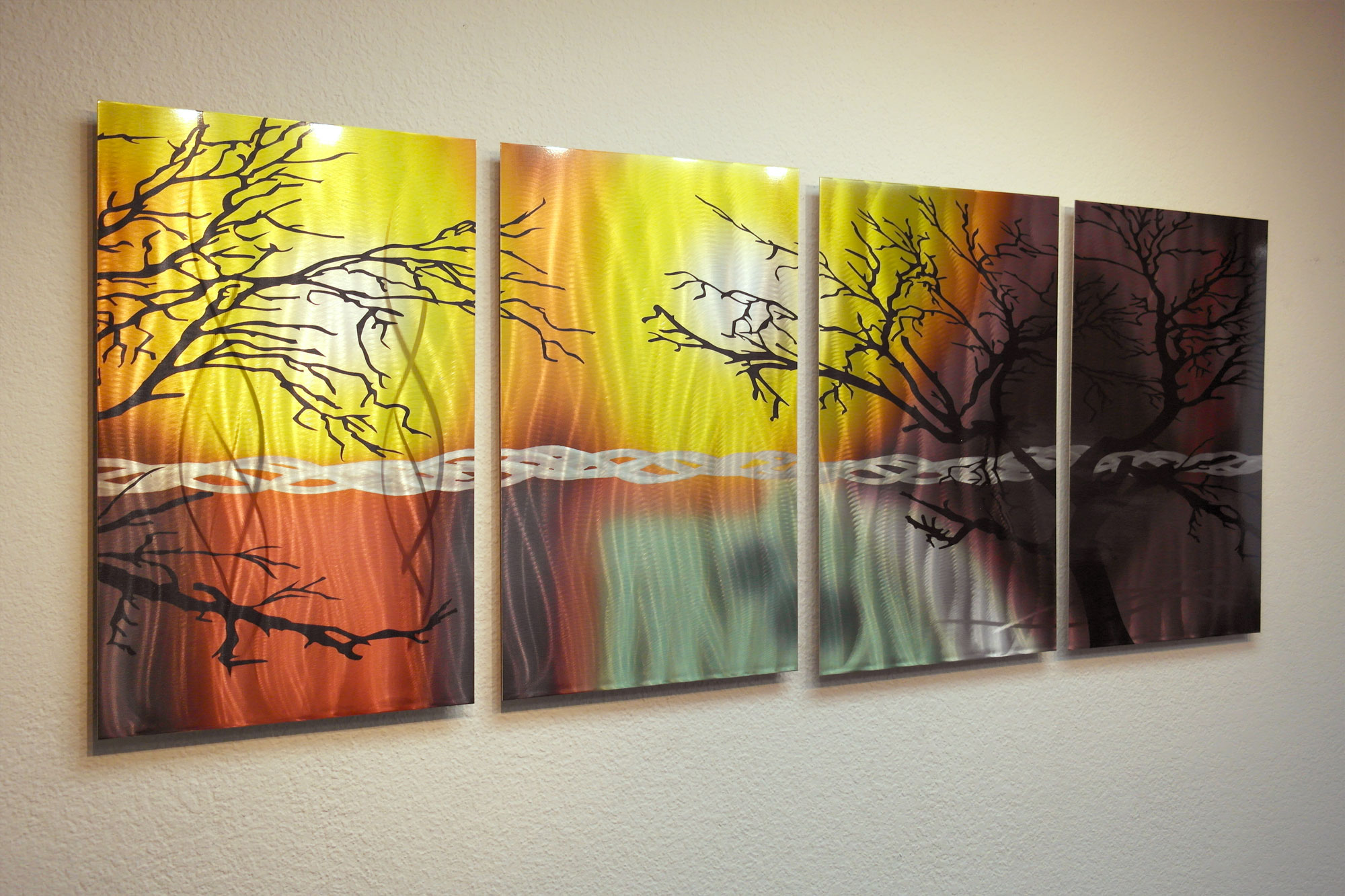 Metal Tree Wall Art Gallery: Tree In Silhouette- Abstract Metal Wall Art Contemporary
