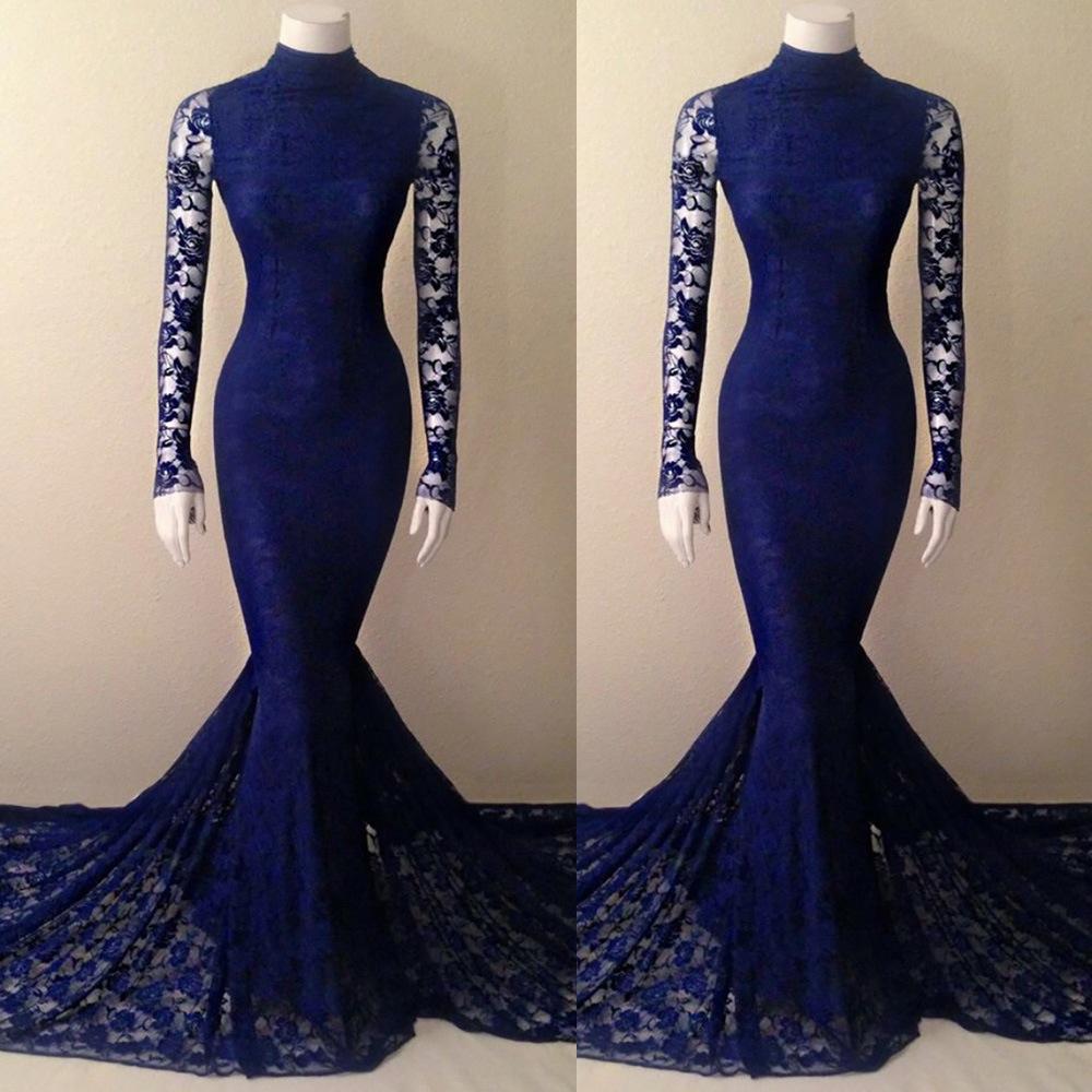 Navy Blue Lace Mermaid High Neck Prom Dress With Long Sleeves ... 2eba2498ebae