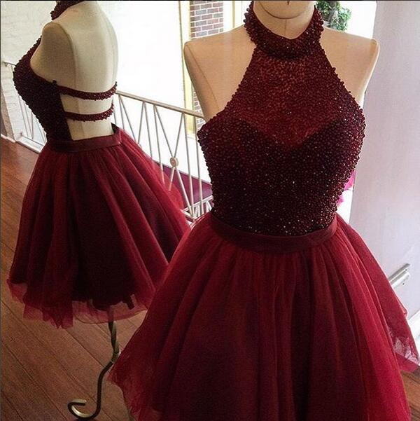32cf12f91d Cute A-line burgundy tulle beaded short prom dress