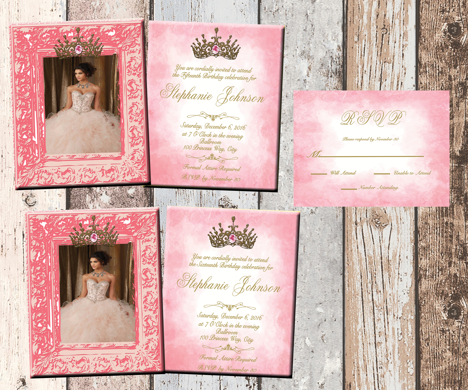 Princess Photo Quinceanera Or Sweet 16 Personalized Birthday Invitation 2 Sided Card Party