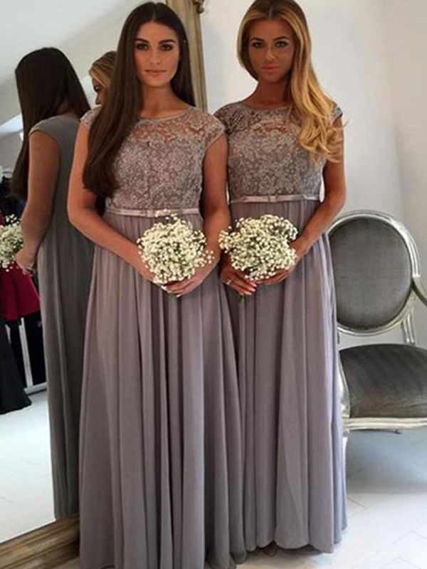 Modest Floor Length Bridesmaid Dresses with Sleeves