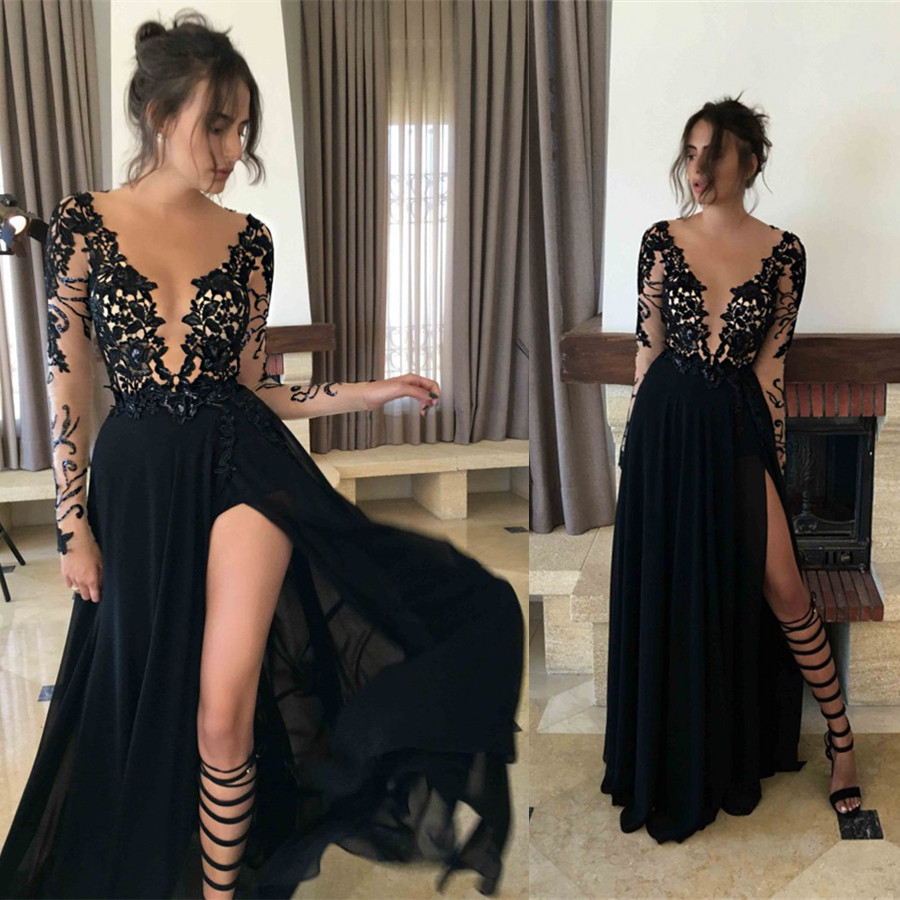 d810f90af7de Black Prom Dress 2017 With High Slit Prom Dresses Evening Party Gown ...