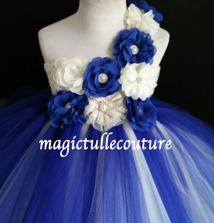 Royal Blue Flower Girl Tutu Dresses Toddler Tutu Dresses Wedding Tulle Dresses Girls Princess Birthday Party Dresses With Big Bow From