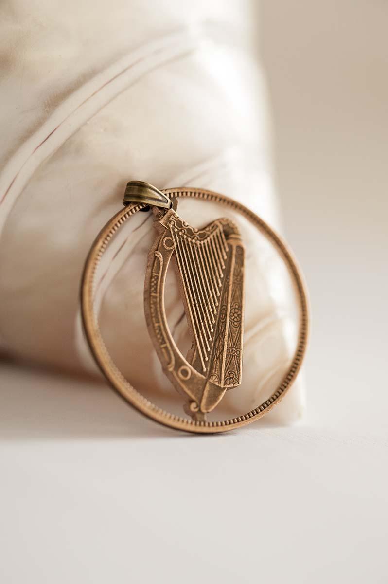 Ireland Cut Coin Necklace in Copper Colour  1 Pingin, Irish Coin  Handmade,  Gaelic Harp, Cláirseach