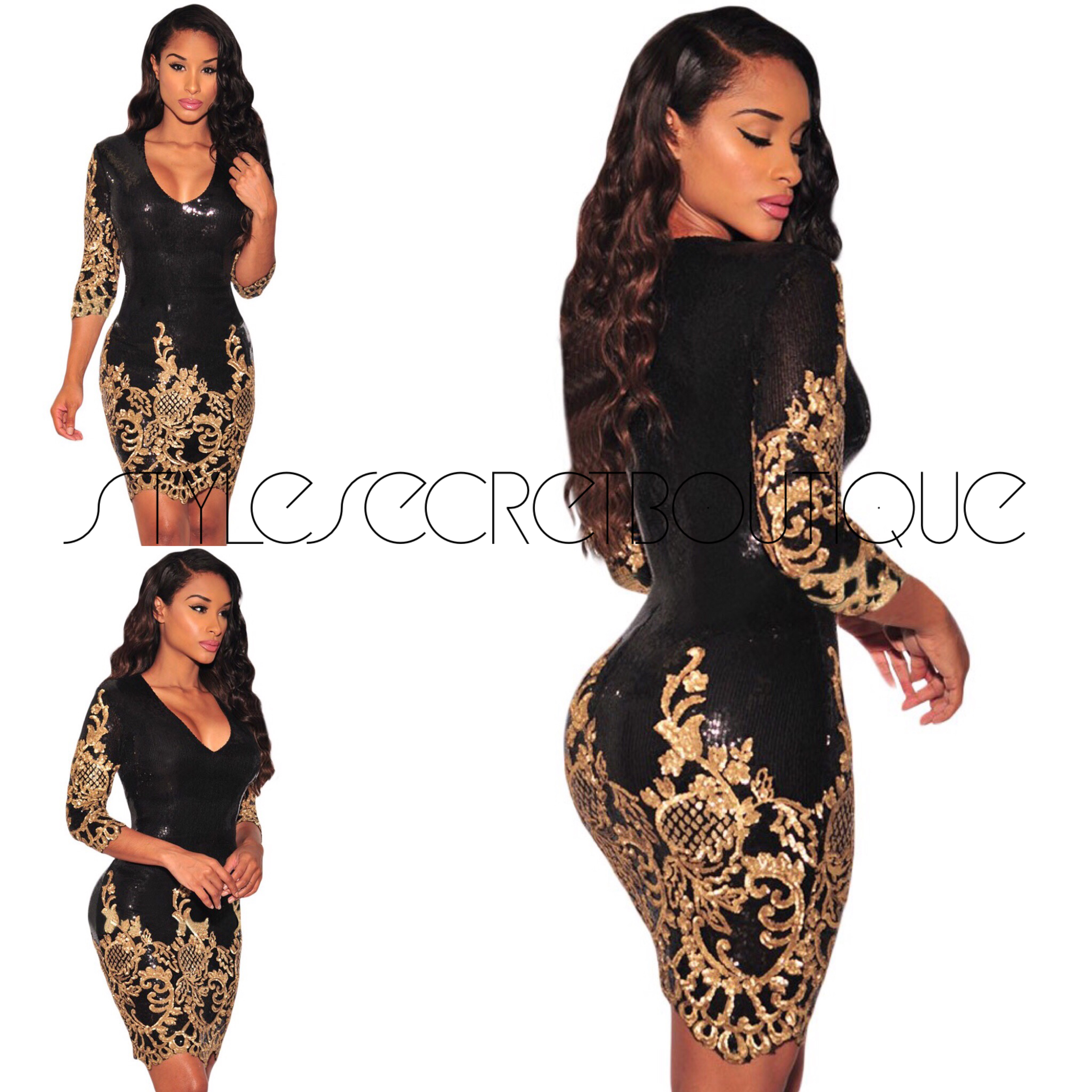 d644c859843 Black and gold sequin holiday dress on Storenvy