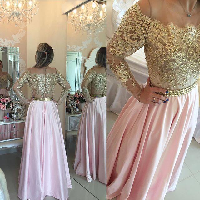 8b5bcf8d6fa60 Pink Champagne Long Sleeve Beaded Long Prom Dress 2017 on Storenvy