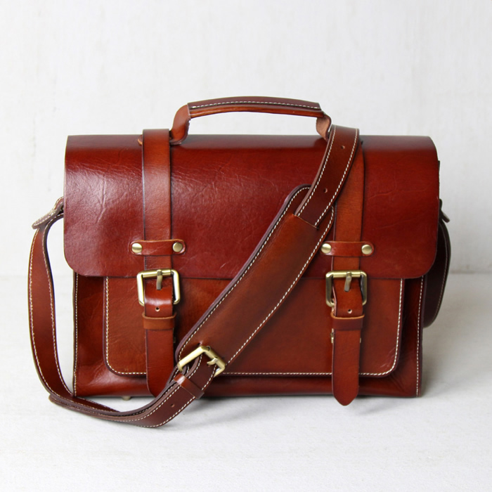 3131cec9a7e2 Handmade Vegetable Tanned Leather Briefcase   Messenger Bag  n30 ...