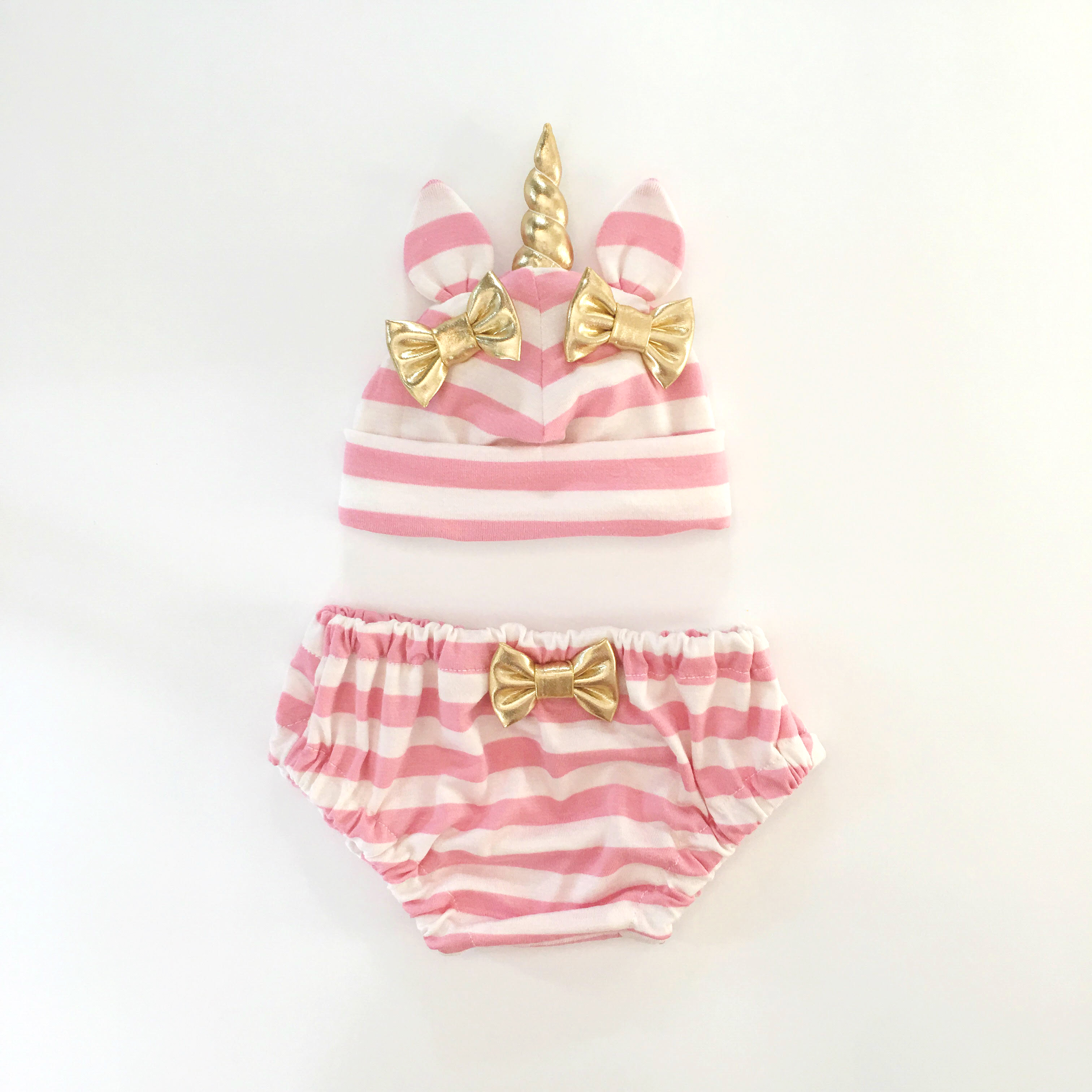 c7e0b6d45b6 Unicorn Hat   Bloomers Set - Pink Stripe