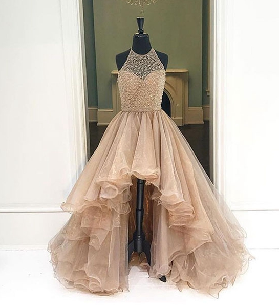 Gowns For Women: Charming Champagne High-low Prom Dresses
