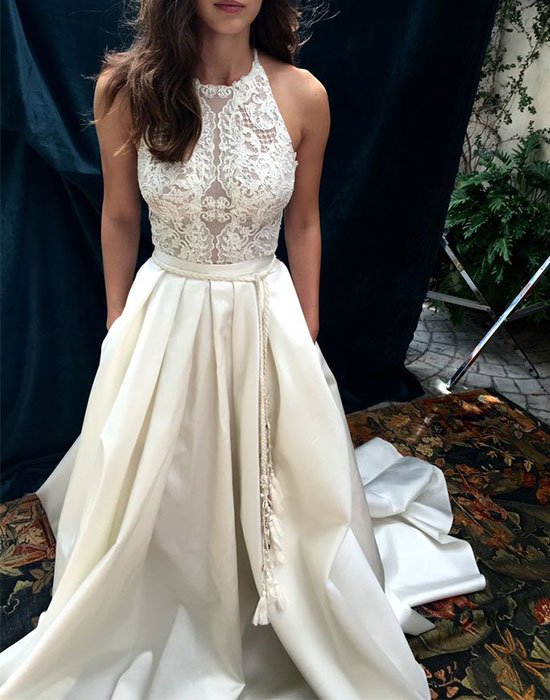 dress day | White lace long prom gonw, lace evening ...