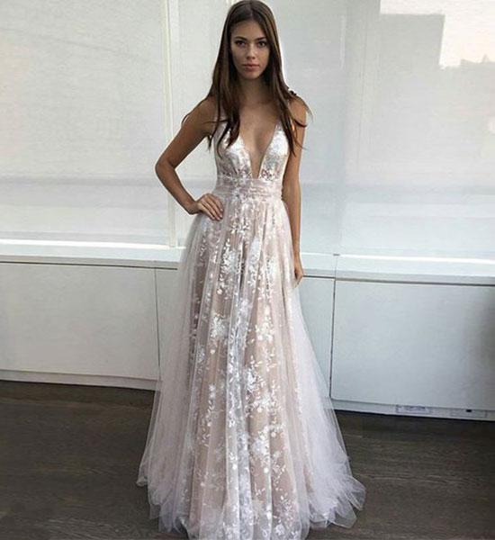 90b00bdb6ce white v neck lace tulle long prom dress