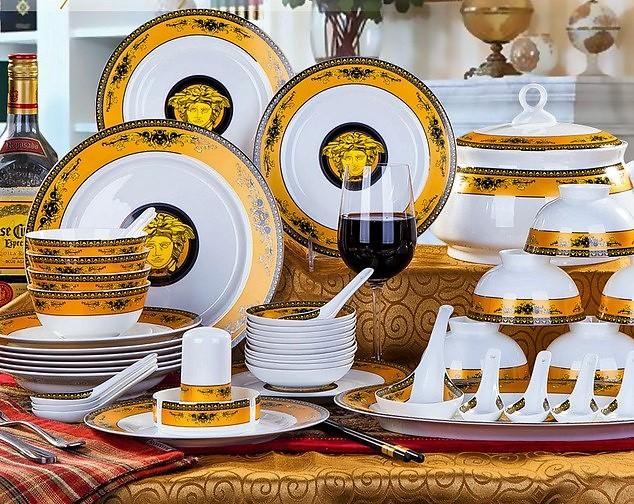 V 20china 20gold 20dinnerware original & Copy of European Versace fine china dinnerware set 43 piece service ...