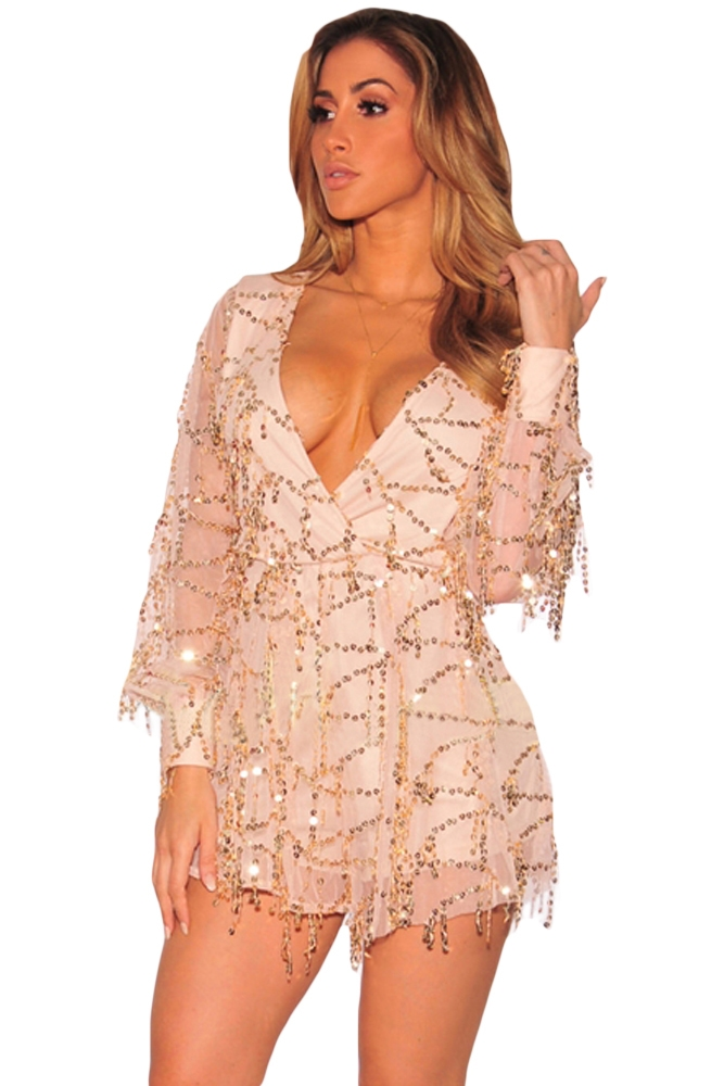 f36a1f60f87 Champagne Flowing Sequins Long Sleeves Romper FREE DELIVERY