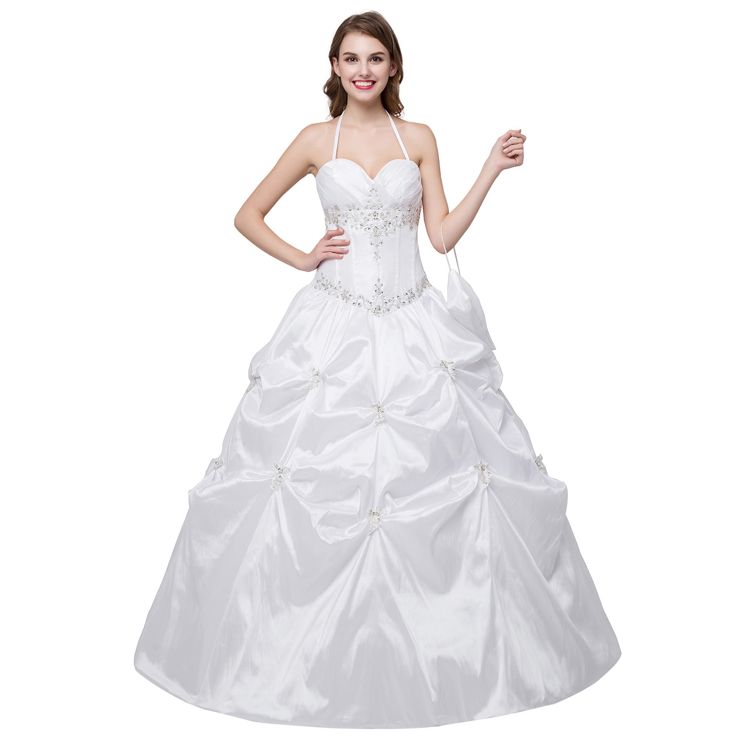 White Halter Wedding Dresses Taffeta Beaded Pleat Wedding Gown on ...