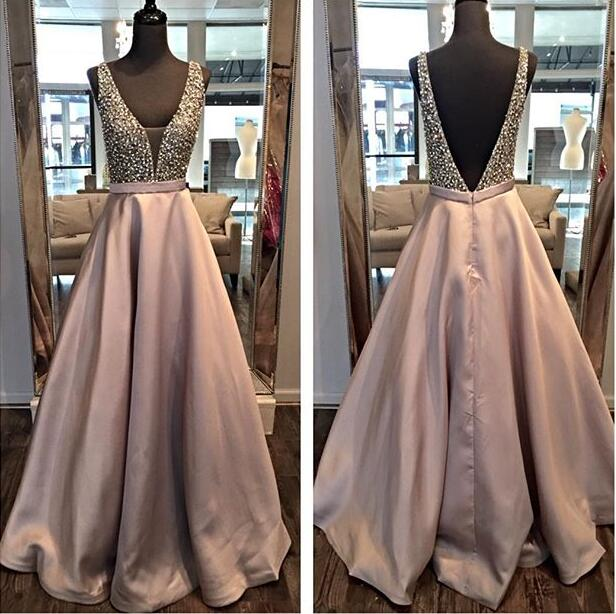 Backless A line Evening Prom Dresses, 2017 Long Party Prom Dress ...