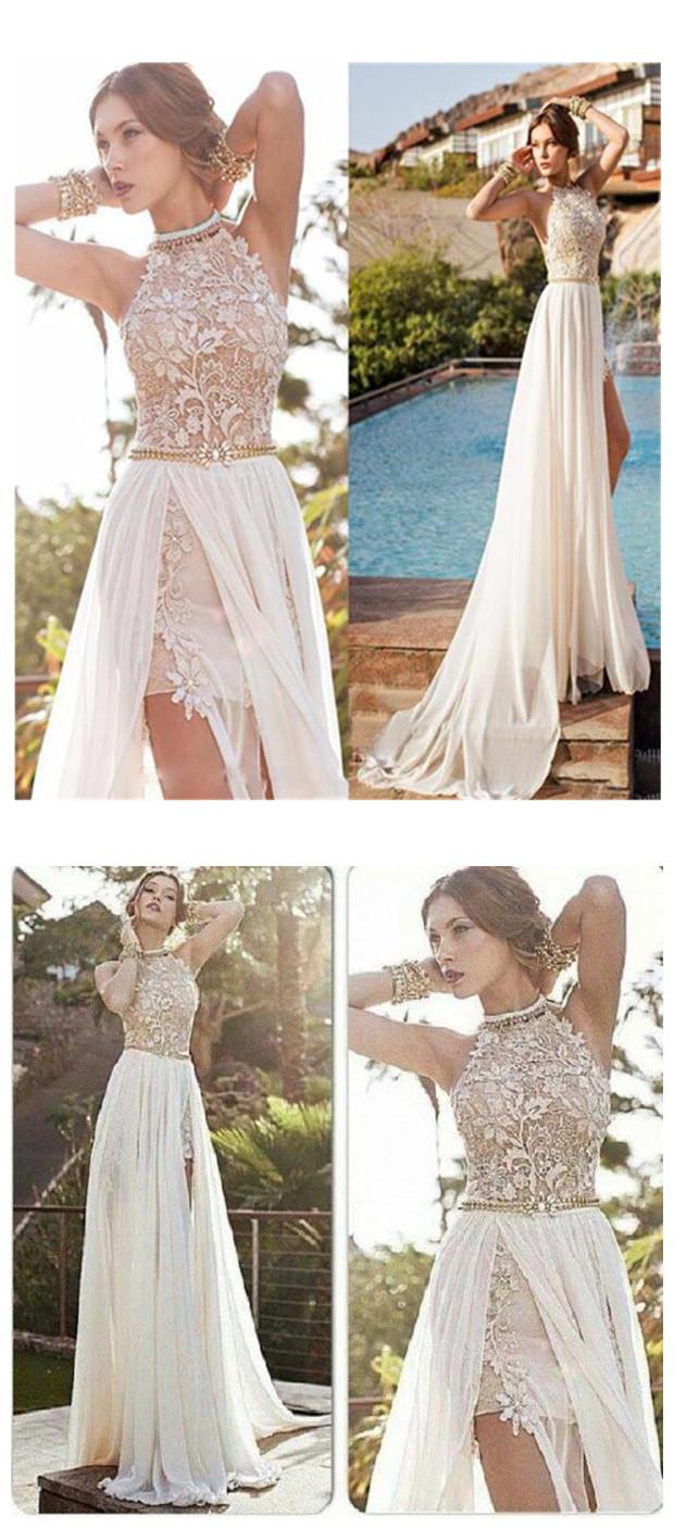 Elegant A Line Halter Prom Dress High Neck Floor Length Beach Wedding Dresses Lace Ivory Wedding Dress Chiffon Prom Dresses From Balladresses
