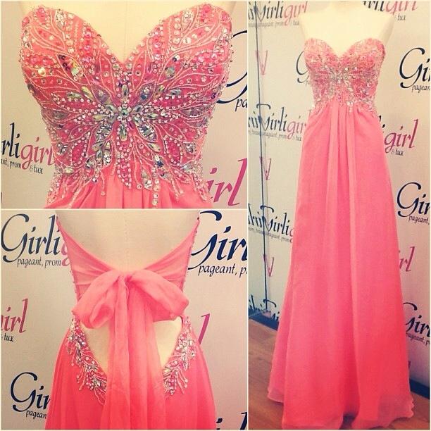 Empire Waist Long Prom Dresses,Watermeon Chiffon Prom Dress,Backless ...