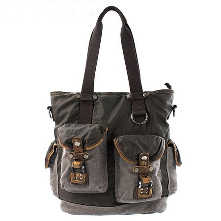Distressed Leather And Canvas Aviation Shoulder Tote Bags Unisex