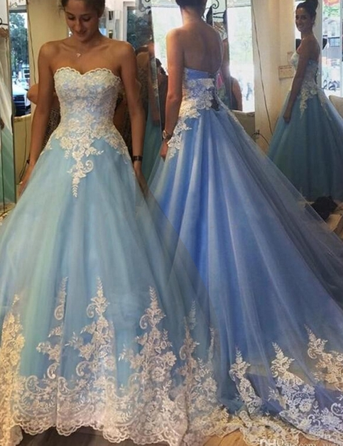 Ball Gown Blue Prom Gowns,New prom Dresses,Prom gowns