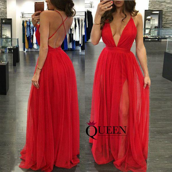 Dark Red / Red / Black Tulle Deep V-Neck Slit Long Prom Dress, Floor ...