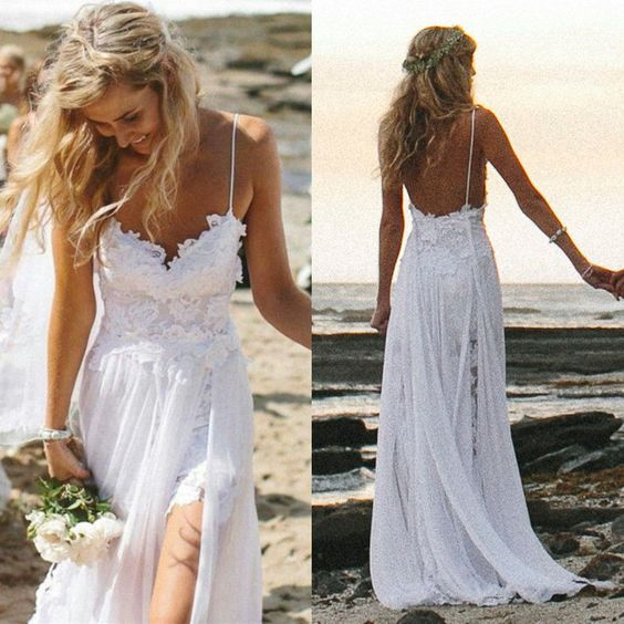 80abb3910b16 Boho Summer Beach Wedding Dresses A Line Spaghetti Straps Lace Bodice  Chiffon Skirt Backless Open Back White Wedding Gown on Storenvy