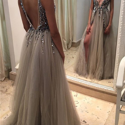 7078ef7d Sexy deep v neck backless grey tulle prom dresses,off the shoulder open  back evening
