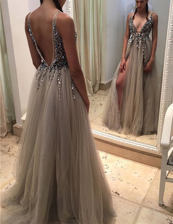 fe52c87124 Sexy Deep V Neck Backless Grey Tulle Prom Dresses