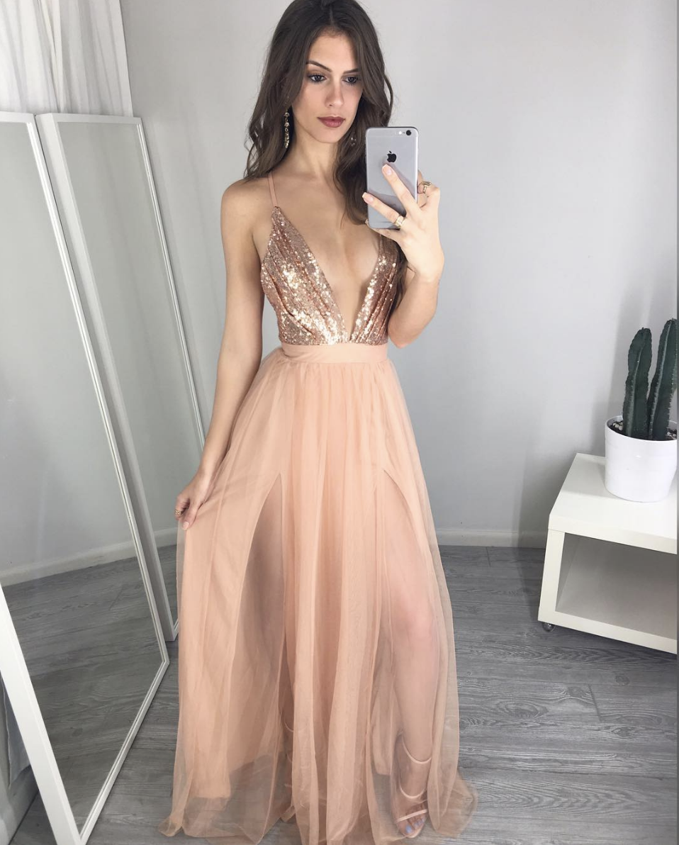 55a9a44b8f1d Pink v neck sequin long prom dress