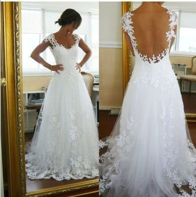 Beach Wedding Dresses White Tulle Backless Sexy Sheer Lace New