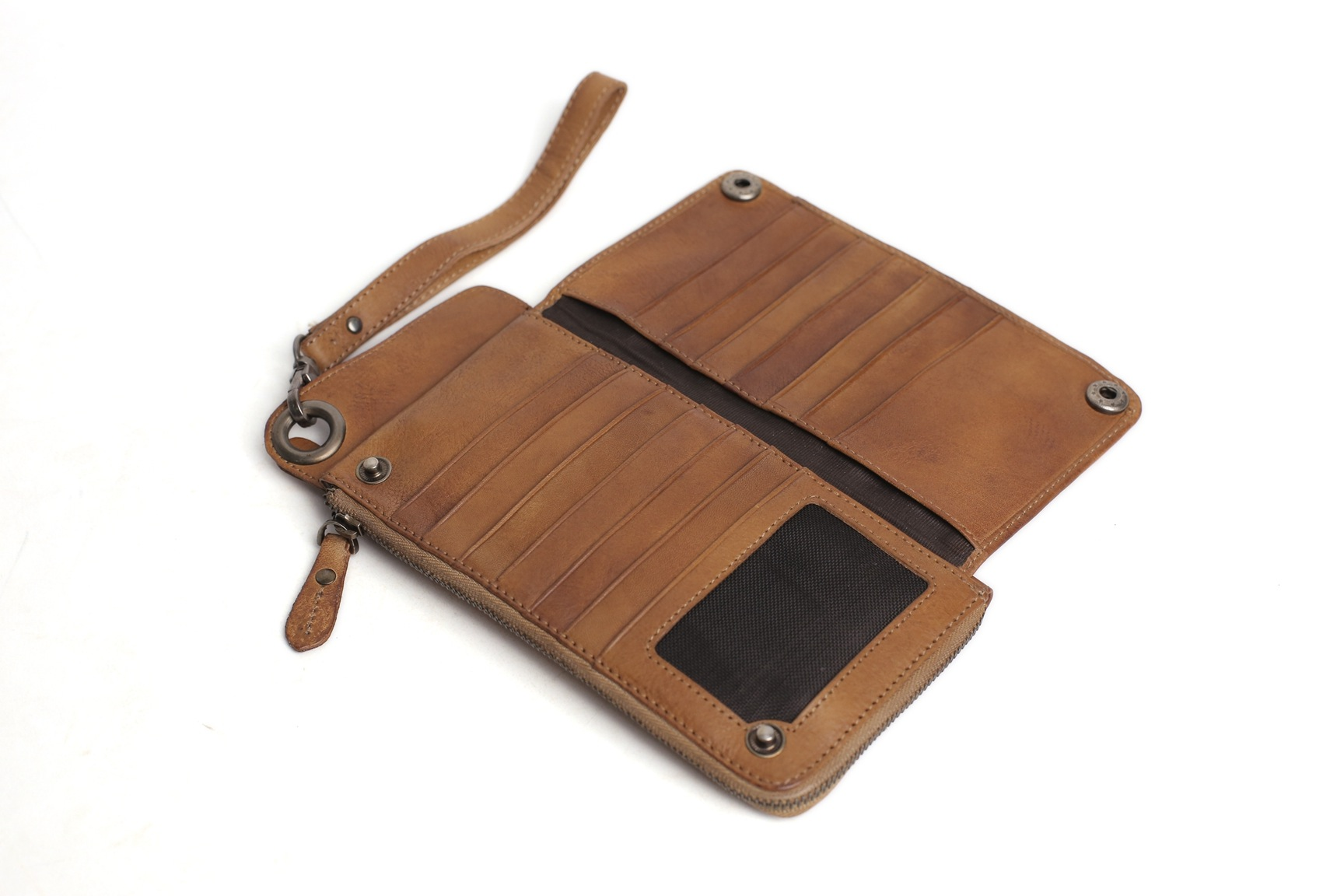 Handmade Vegetable Tanned Full Grain Leather Wallet/Long Purse/Button Clutch 9028 (54329164) photo