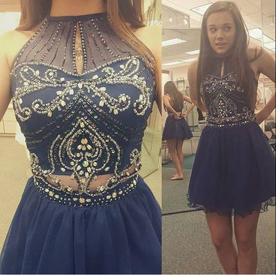 Homecoming Dresshigh Neck Halter Navy Tulle Skirt Two Piece Prom Dress Short Prom Dress Short Homecoming Drssses From Ydresses