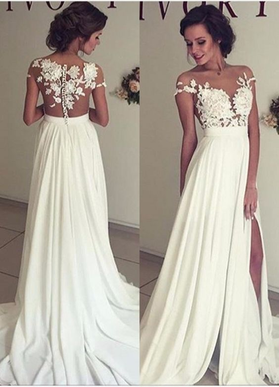 284869e6e9 Summer Beach Chiffon Wedding Dresses, Lace and Chiffon Wedding Dress,  A-line Wedding Dresses, Charming Prom Dresses