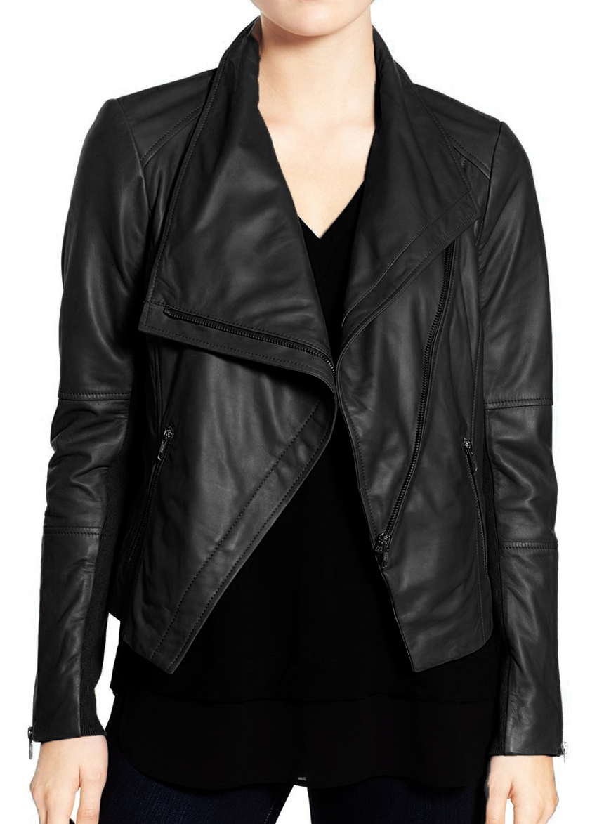 9dfb10a7b6 Women Black Wide Collar Leather Jacket,Fashion Zipper Women Leather Jacket  on Storenvy