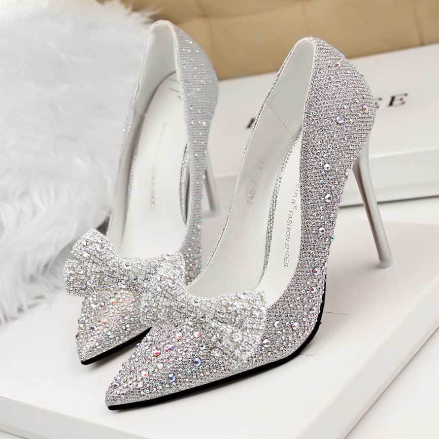 cfbb3613e0 Wedding Shoe Clips Rhinestone Crystal Silver Bow Shoe Decoration ...