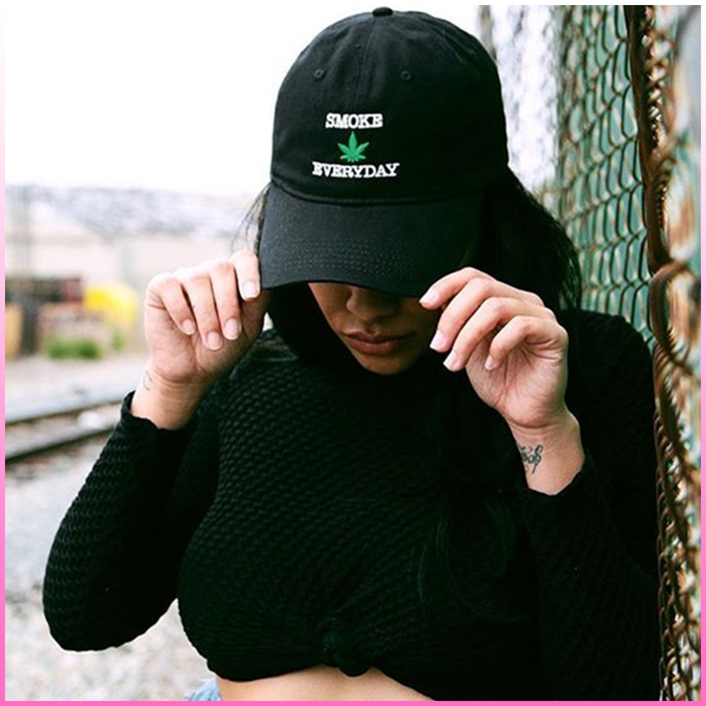 8d159603ee3 UNISEX GHETTO SMOKE WEED EVERYDAY BASEBALL CAP IN BLACK · CYBEROTAKU ...