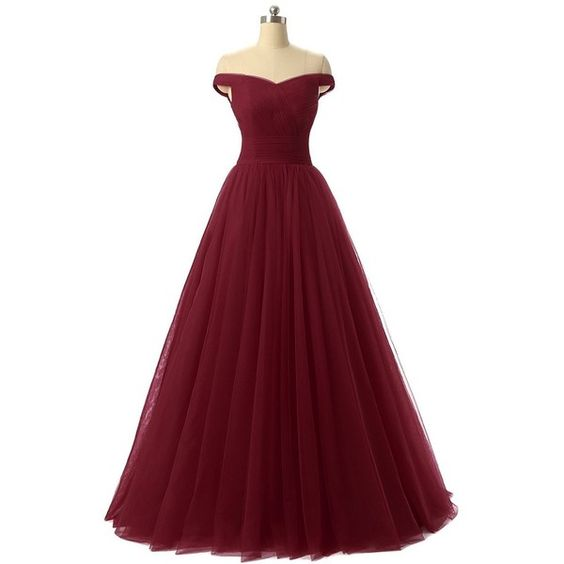 A Line Style Off The Shoulder Burgundy Tulle Prom Dress Formal