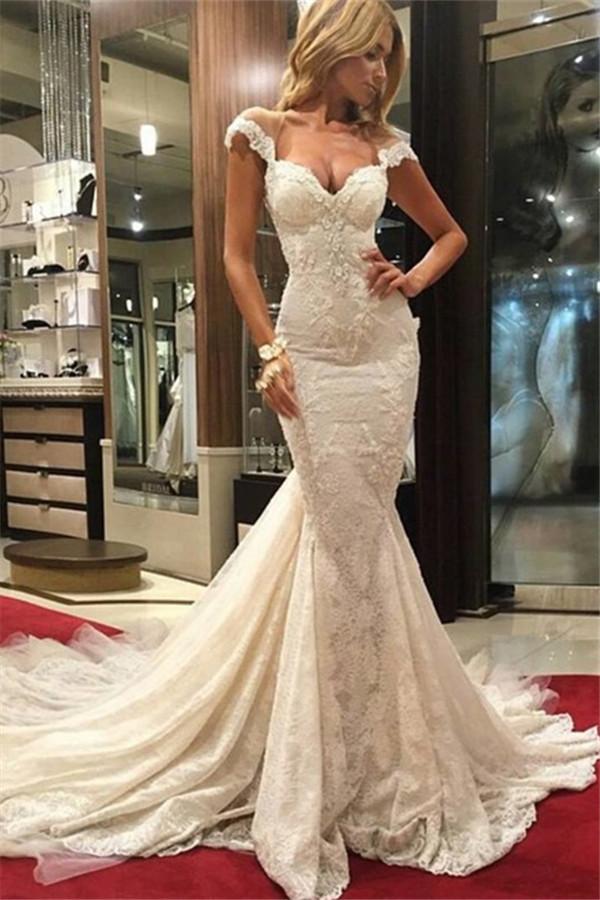 Sexy mermaid lace wedding dress
