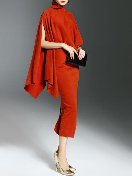a700442d6c92 Orange Slit Two Piece Sheath Batwing Midi Dress · Bilkis · Online ...