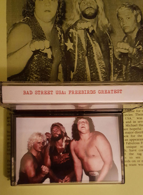 BADSTREET USA! Sixty minutes of the greatest promos/interviews from the greatest tag trio of all time. Covering the original 'birds line-up of Bam Bam Gordy, PS Hayes and Buddy Jack Roberts (no Jimmy Garvin here fellas) from their WCCW, NWA and original WWF run. Full color covers.   Special Edition comes with a badge of each member which you may apply the Freebird Rule to when placing on your lapel and fancy ADT decal.  ADT-005