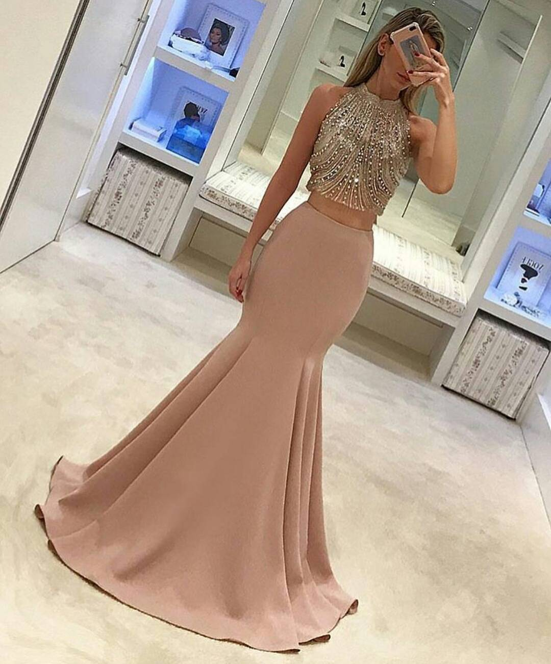 Gorgeous Two Piece Mermaid Prom Dress 2017 Prom Dress Long Formal Evening Dress