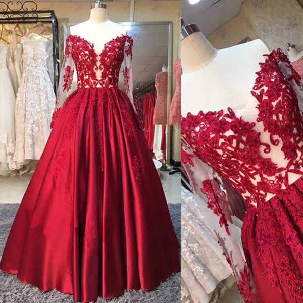 Gorgeous red prom dresses, long sleeves prom dresses, elegant off ...