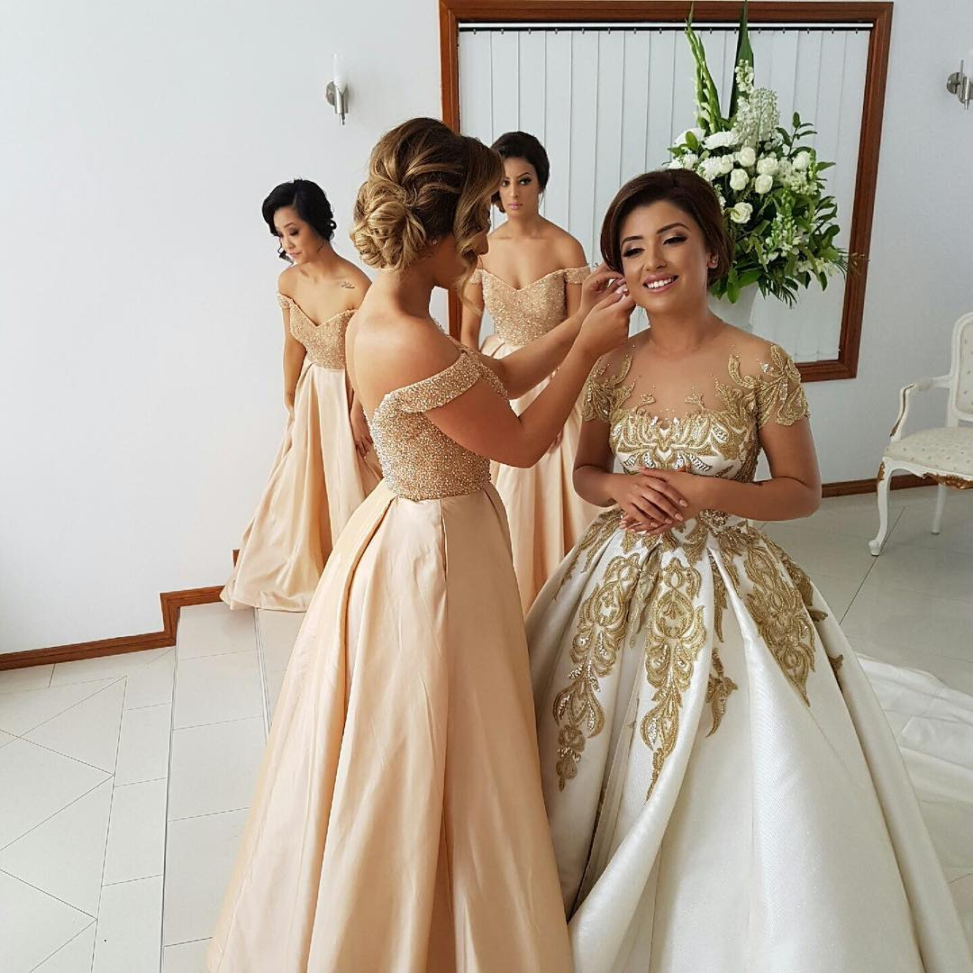 Off the shoulder bridesmaid dresses, champagne