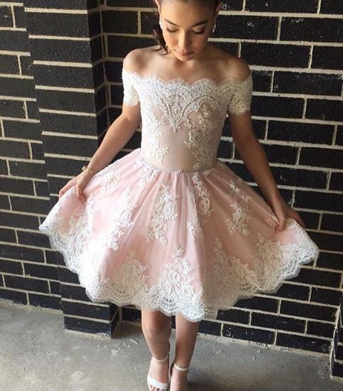 9f2782bbec1 Pink lace off shoulder short prom dress