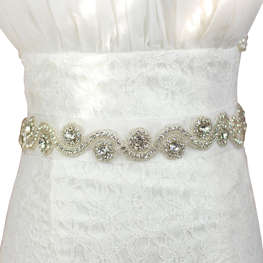 c2350af5f5 Flower girl/Bridal Sash,Wedding Rhinestone Sash Belt,Silver Sash Belt from  Baby Fashionista Boutique