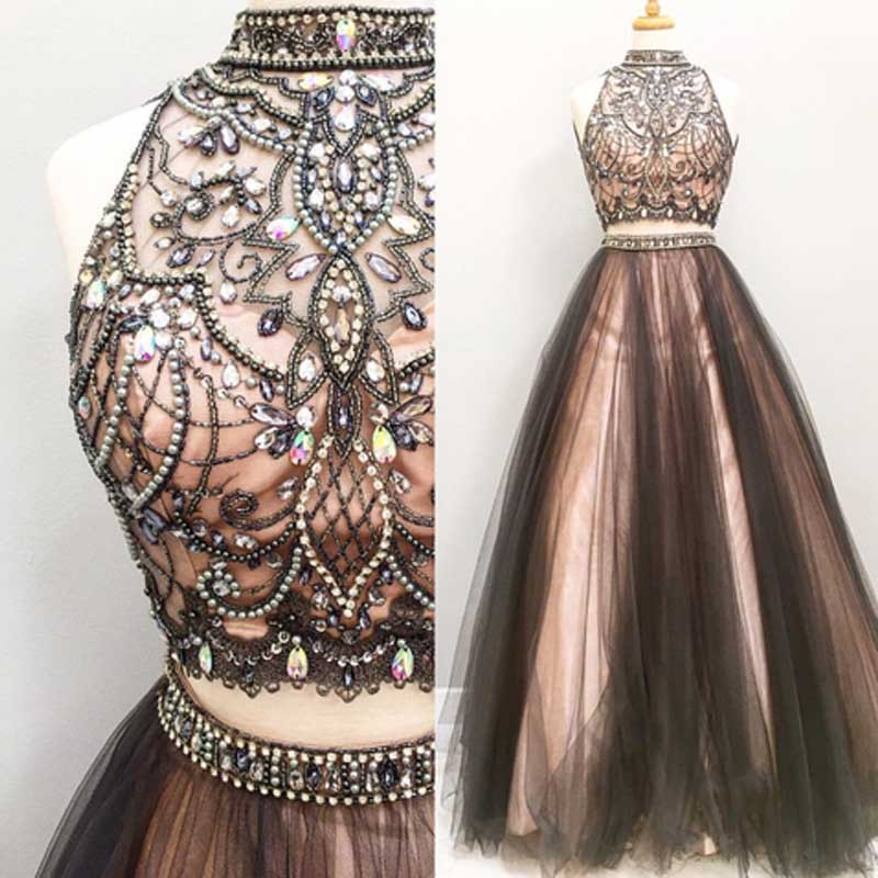 e319ba1a2f Two pieces prom dress, gorgeous prom dress, high neck prom dress, popular  prom dress, beaded prom dress, evening dress, long prom dresses, 15436