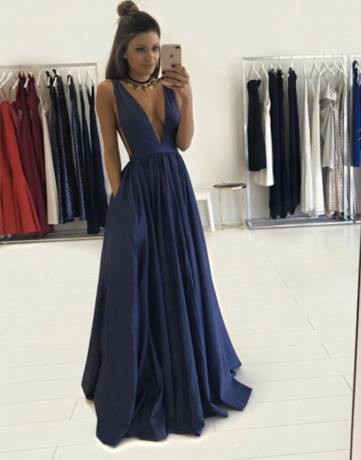 Simple V Neck Long Prom Dress Blue Evening Dress Formal Dress For Teens From Dress Day