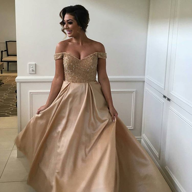 ab292c8124 Beaded Dark Champagne Prom Dress,Off The Shoulder Formal Gown,Party Dress  Long
