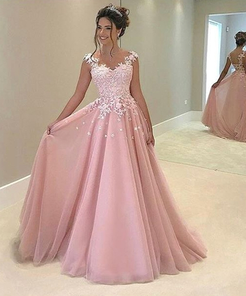 hot-selling discount special buy special buy Pink Appliques Prom Dress,Long Prom Dresses,Charming Prom Dresses,Evening  Dress Prom Gowns, Formal Women Dress,prom dress
